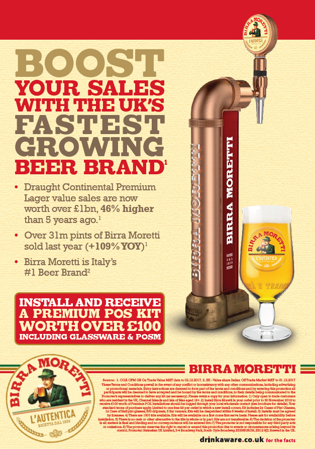 Birra Moretti the UK's Fatest Growing Beer Brand